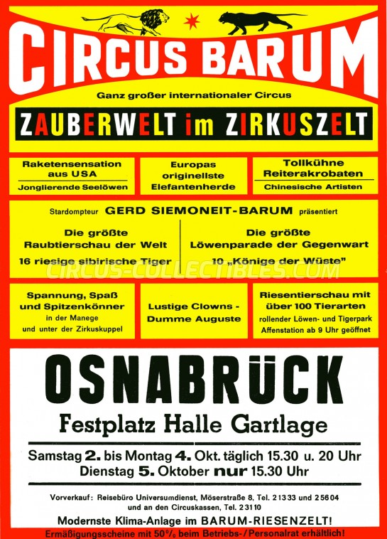Barum Circus Ticket/Flyer - Germany 1976