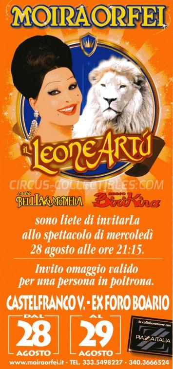 Moira Orfei Circus Ticket/Flyer - Italy 2013