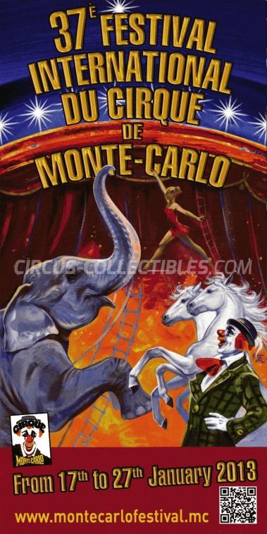 Festival International du Cirque de Monte-Carlo Circus Ticket/Flyer -  2013
