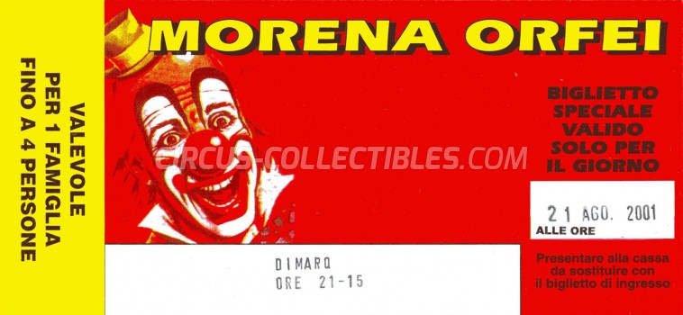 Morena Orfei Circus Ticket/Flyer -  2001