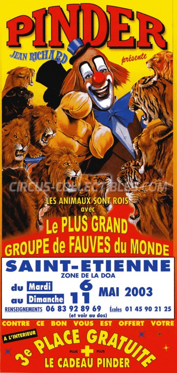 Pinder - Jean Richard Circus Ticket/Flyer - France 2003