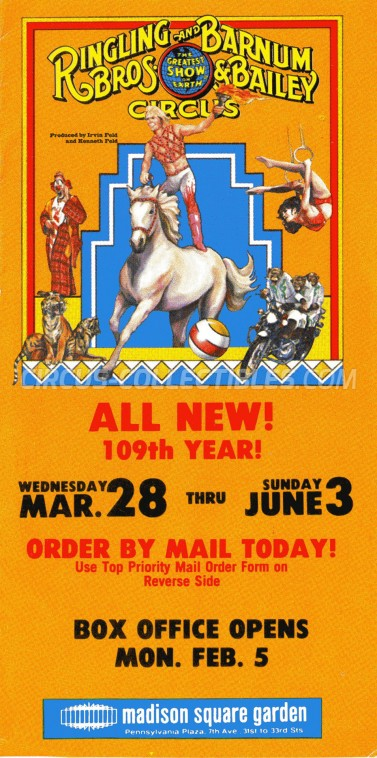 Ringling Bros. and Barnum & Bailey Circus Circus Ticket/Flyer - USA 1979