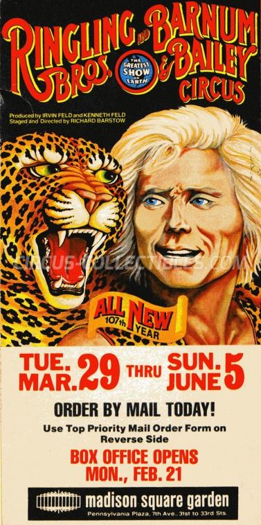 Ringling Bros. and Barnum & Bailey Circus Circus Ticket/Flyer - USA 1977