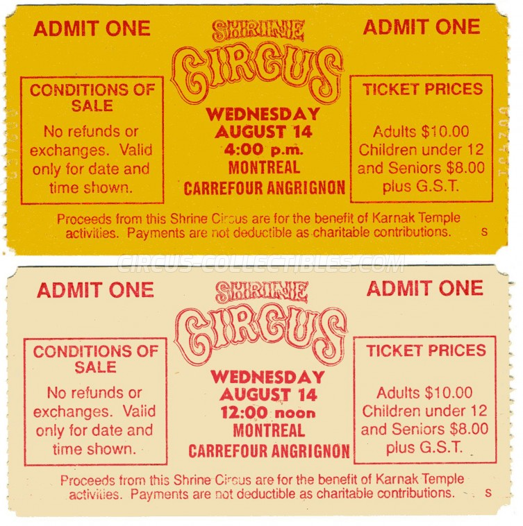 Shrine Circus Circus Ticket/Flyer - Canada 1980