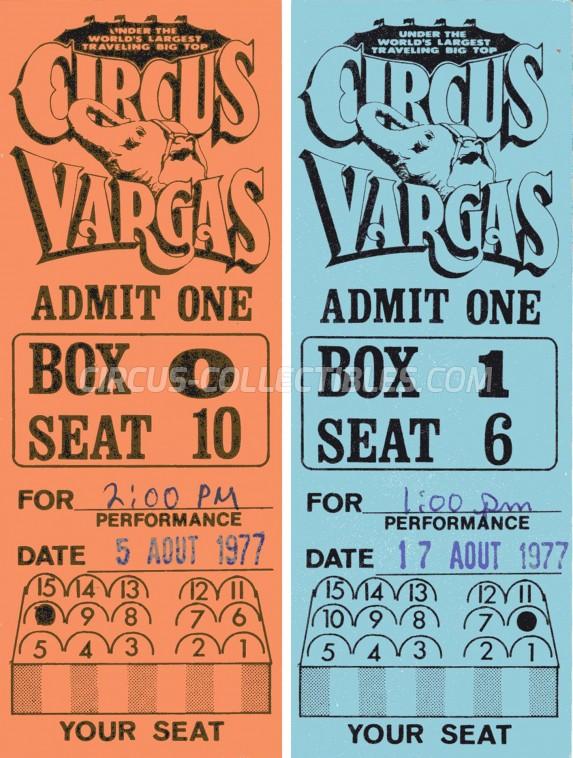 Vargas Circus Ticket/Flyer -  1977