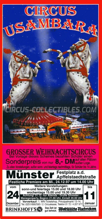 Usambara Circus Ticket/Flyer - Germany 1997
