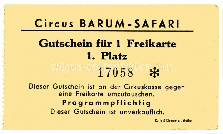 Barum Circus Ticket/Flyer -  1970