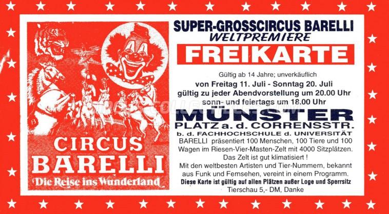 Barelli Circus Ticket/Flyer - Germany 1997