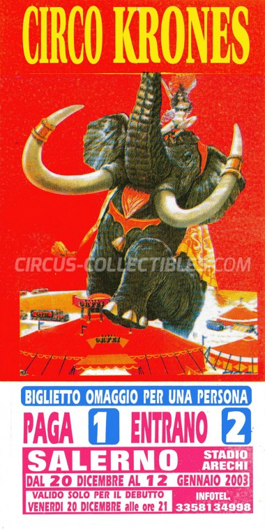 Krones Circus Ticket/Flyer - Italy 2003