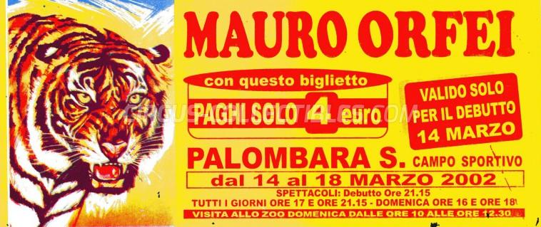 Mauro Orfei Circus Ticket/Flyer - Italy 2002