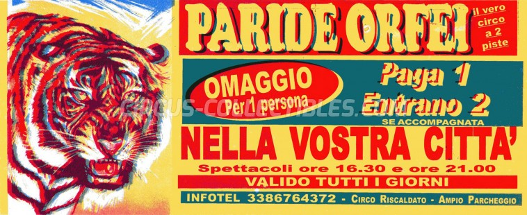 Paride Orfei Circus Ticket/Flyer -  0