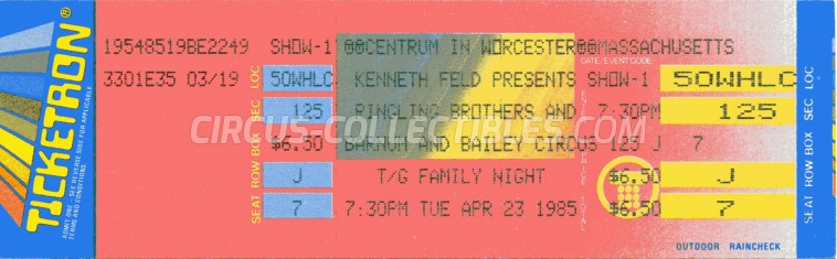 Ringling Bros. and Barnum & Bailey Circus Circus Ticket/Flyer - USA 1985