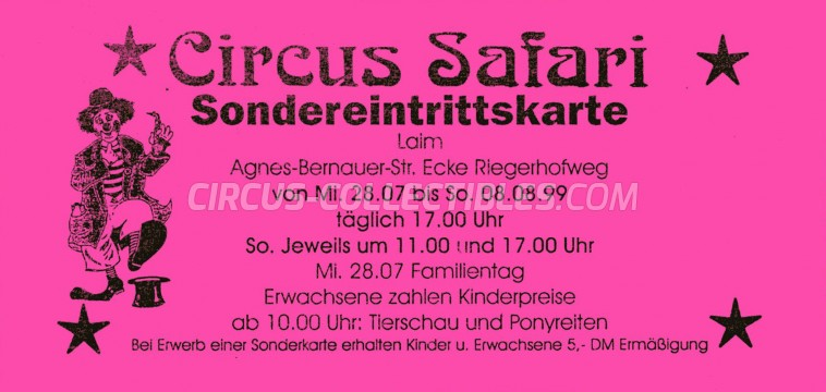 Safari Circus Ticket/Flyer - Germany 1999