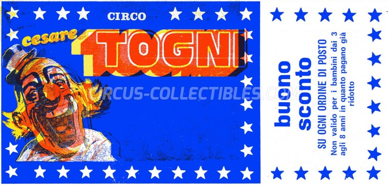 Cesare Togni Circus Ticket/Flyer - Italy 1984