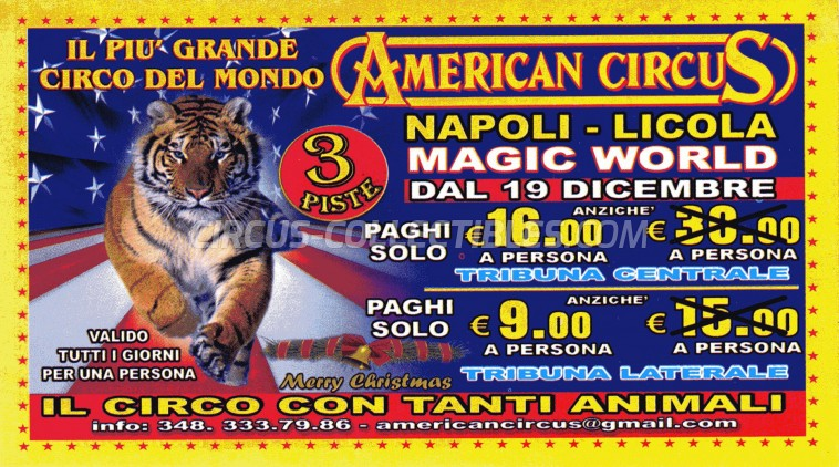 American Circus Circus Ticket/Flyer - Italy 2014