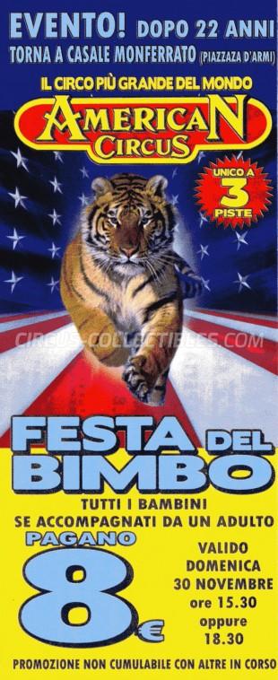 American Circus Circus Ticket/Flyer - Italy 2014