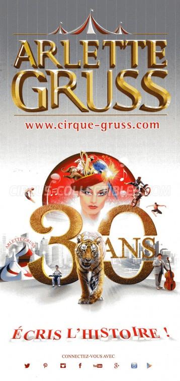 Arlette Gruss Circus Ticket/Flyer -  2015