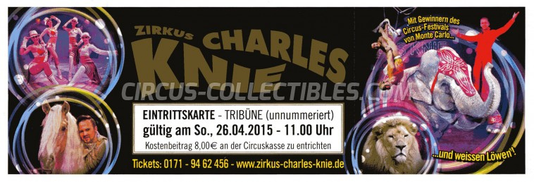 Charles Knie Circus Ticket/Flyer -  2015