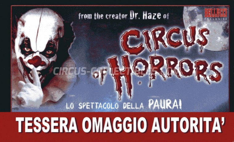 The Circus of Horrors Circus Ticket/Flyer -  2014