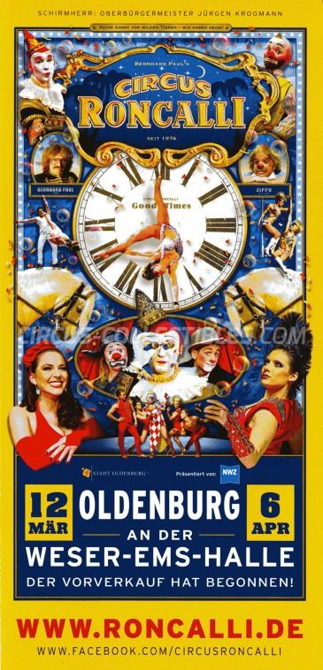 Roncalli Circus Ticket/Flyer - Germany 2015