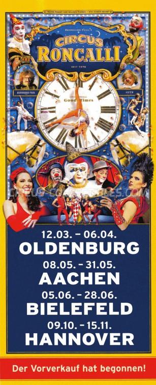 Roncalli Circus Ticket/Flyer -  2015