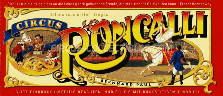 Roncalli Circus Ticket/Flyer -  2015