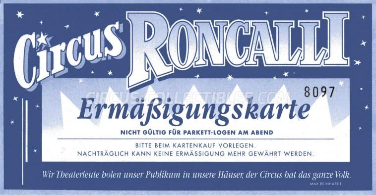 Roncalli Circus Ticket/Flyer -  0