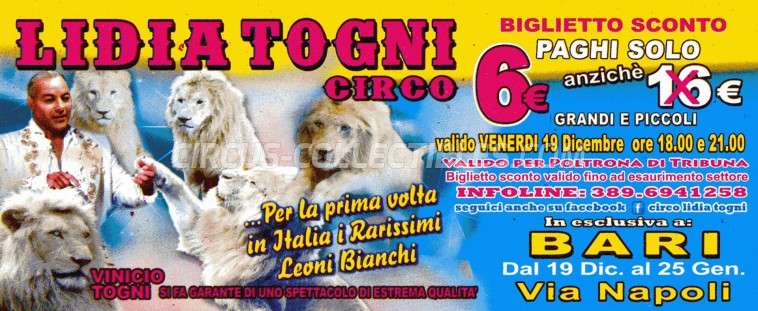 Lidia Togni Circus Ticket/Flyer - Italy 0