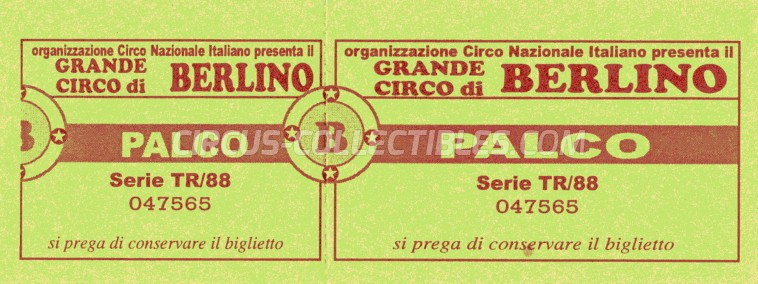 Circo di Berlino Circus Ticket/Flyer -  1988
