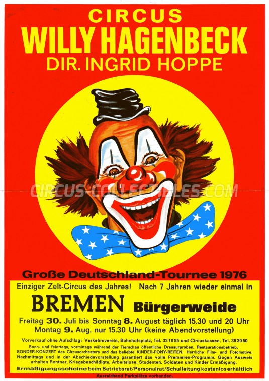 Willy Hagenbeck Circus Ticket/Flyer - Germany 1976