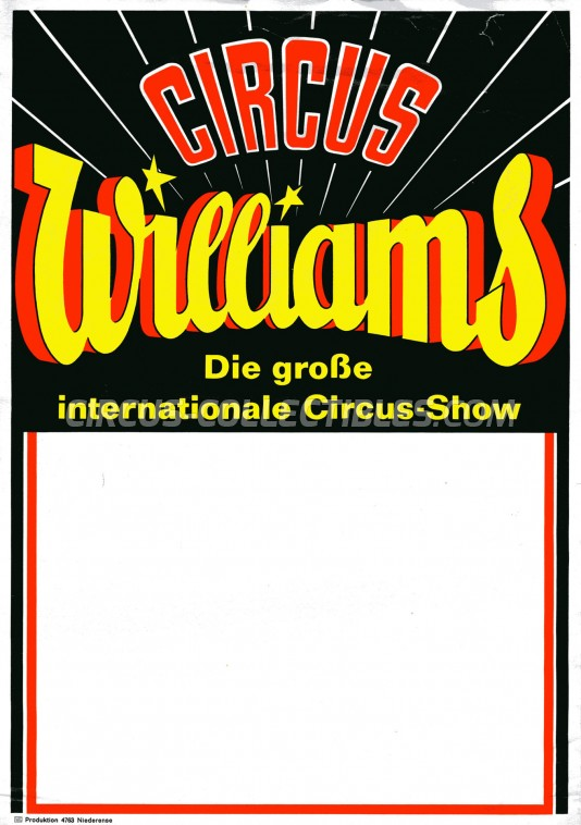 Williams Circus Ticket/Flyer -  1968