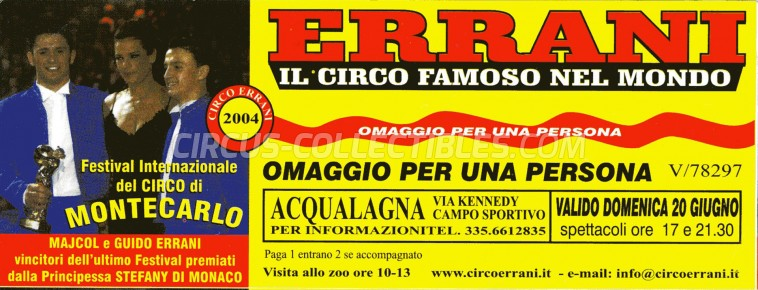 Errani Circus Ticket/Flyer - Italy 2004