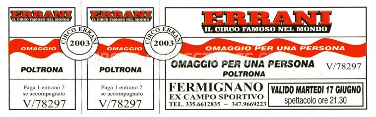 Errani Circus Ticket/Flyer - Italy 2003