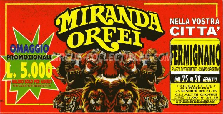 Miranda Orfei Circus Ticket/Flyer - Italy 1996