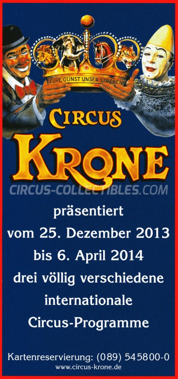 Krone Circus Ticket/Flyer -  2013