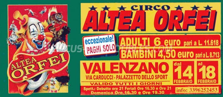 Altea Orfei Circus Ticket/Flyer - Italy 0