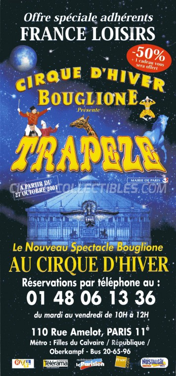 Bouglione Circus Ticket/Flyer - France 2001