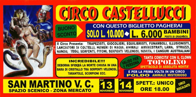 Castellucci Circus Ticket/Flyer - Italy 0