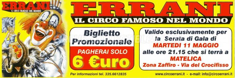Errani Circus Ticket/Flyer - Italy 2004
