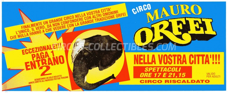 Mauro Orfei Circus Ticket/Flyer -  0