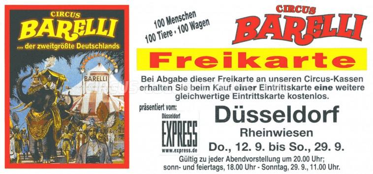 Barelli Circus Ticket/Flyer - Germany 0