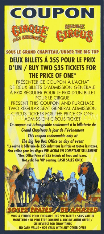 Shrine Circus Circus Ticket/Flyer -  2014