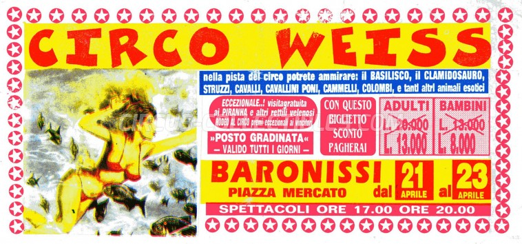 Weiss Circus Ticket/Flyer - Italy 0