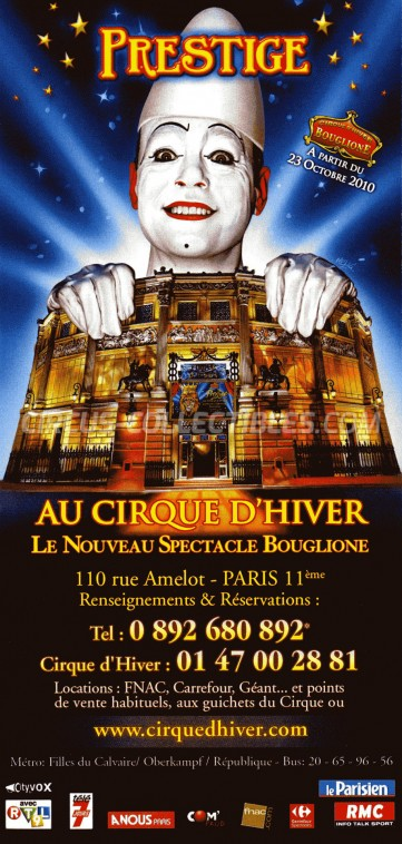 Bouglione Circus Ticket/Flyer - France 2010