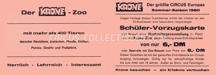Krone Circus Ticket/Flyer -  1980