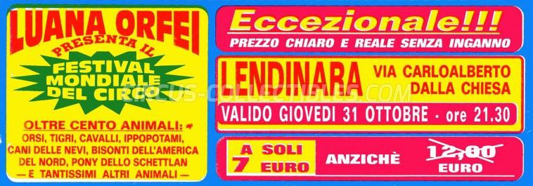 Luana Orfei Circus Ticket/Flyer - Italy 2002