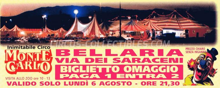 Circo di Montecarlo Circus Ticket/Flyer - Italy 0