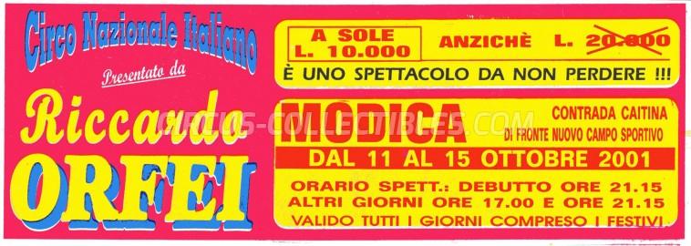 Riccardo Orfei Circus Ticket/Flyer - Italy 2001