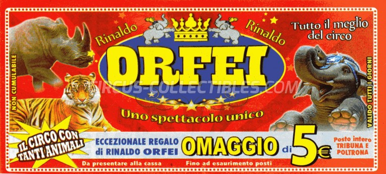 Rinaldo Orfei Circus Ticket/Flyer -  0