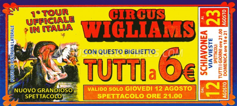 Wigliams Circus Ticket/Flyer - Italy 2010